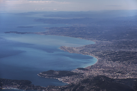 Aerial view on french riviera city of Nice and the airport