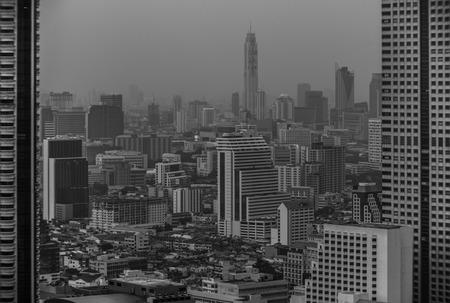 silom: Black and white Silom district in Bangkok, December 2014 Stock Photo