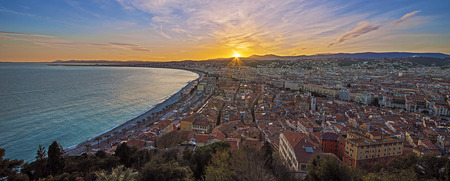 City of Nice panorama on sunset photo