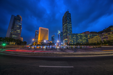 Jakarta capital of Indonesia at dusk