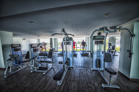 Fitness center in a building Stock Photo