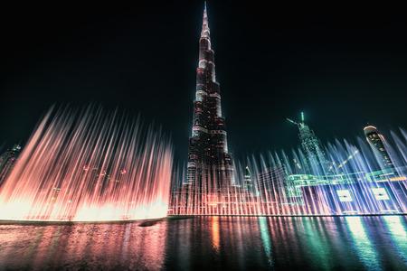 Dubai fountain show next to Burj Khalifa