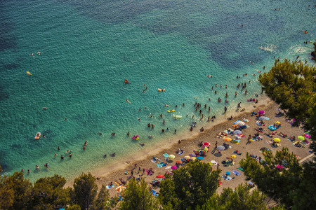 villefranche sur mer: Beach in Villefranche Sur Mer Stock Photo