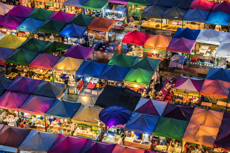 Train night market in Bangkok