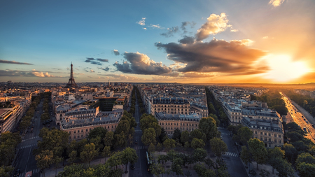 Sunset over Paris and the Eiffel tower