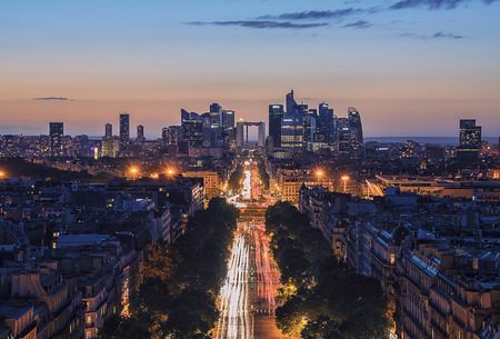 champs elysees: Sunset over the Champs Elysees and La Defense in Paris Stock Photo