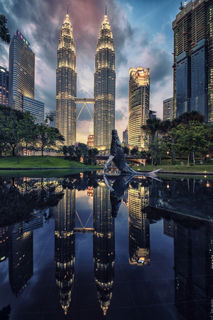 Petronas twin towers in Kuala Lumpur KLCC district