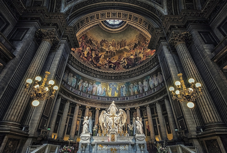 Altar of the Madeleine church in Paris Editorial