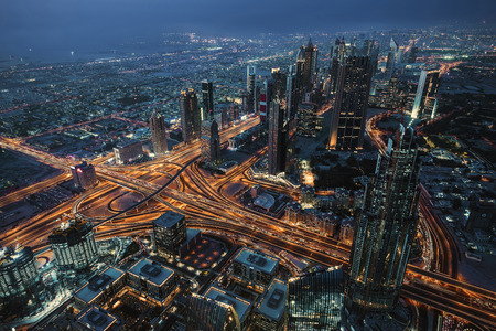 Dubai city with the famous Sheikh Zayed Road Stock Photo