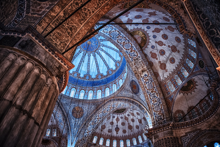 Inside the blue mosque in Istanbul Editorial