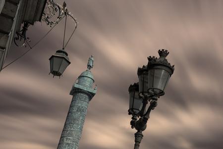 Vendome square in Paris at dusk
