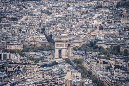 View of the Arc de Triomphe in Paris Stock Photo
