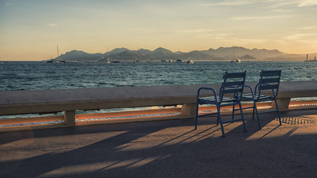 Bay of Cannes viewed from the Croisette boulevard