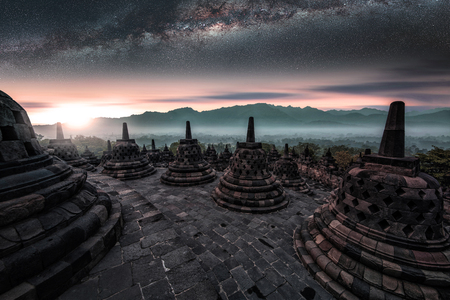 Early morning in Borobudur temple in Java