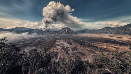 Activity at Mount Bromo in the early morning