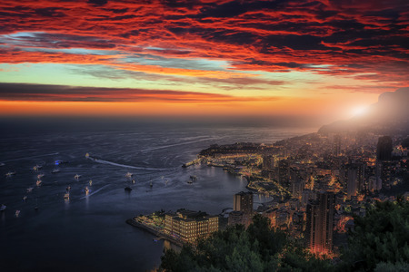 Monaco sunset viewed from La Turbie Stock Photo