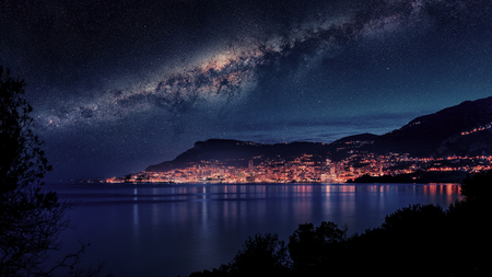 Monaco under the milky way viewed from Roquebrune-Cap-Martin