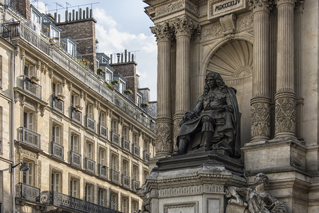 Statue of Moliere, french playwright, actor and poet in Paris, France
