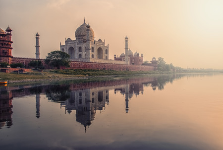 Sunset over the Taj Mahal, Agra, India Stock Photo