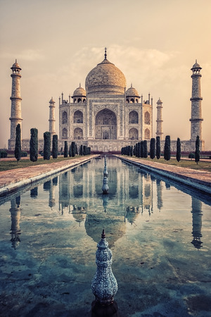 Taj Mahal in sunrise light, Agra, India Editorial