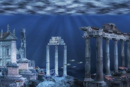 Ilustración de las ruinas de la civilización Atlántida. Ruinas submarinas