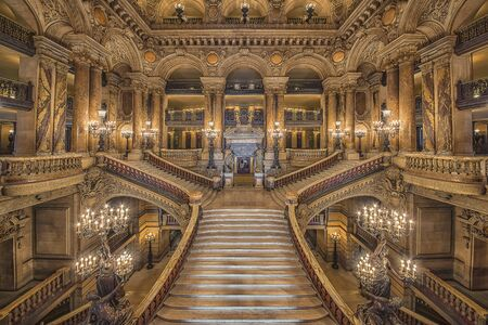 Stairway inside the Garnier Palace, opera house in Paris Editorial