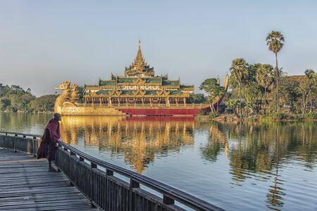 Kandawgyi lake in Yangon city with the famous Karaweik palace