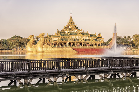 Kandawgyi lake in Yangon city with the famous Karaweik palace