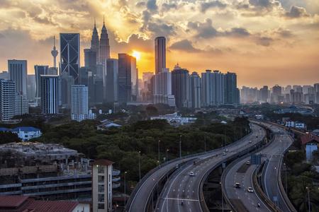 Sunset over Kuala Lumpur city in Malaysia