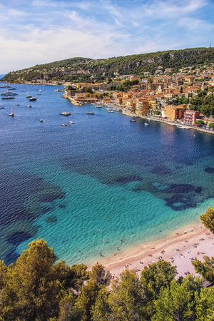 Coastline on the French Riviera with the small village: Villefranche Sur Mer