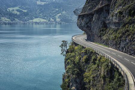 Road built in the cliff in Switzerland Reklamní fotografie