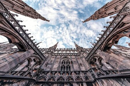 Architecture of the Cathedral of Milan, Italy