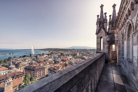 Geneva city in daytime viewed from the cathedral