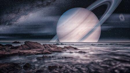 Vista artística de la luna Titán de Saturno