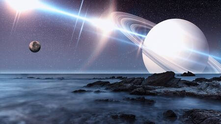 Artist view of an alien landscape