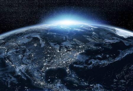Nordamerika bei Nacht aus dem Weltraum gesehen