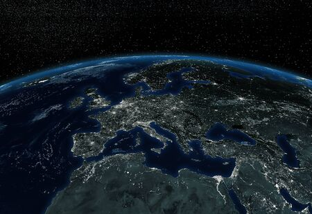 Europe viewed from space by night