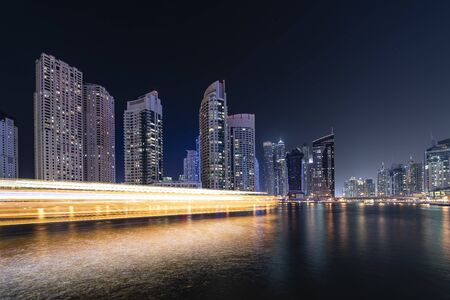 Dubai Marina in evening 版權商用圖片 - 147715835