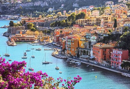 Villefranche-sur-mer on the French Riviera in summer 版權商用圖片