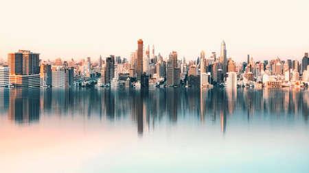 Bangkok panorama reflection in daytime Imagens