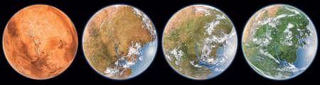 Mars terraforming step . 3d rendering