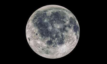 The Moon Isolated in black. 3d rendering