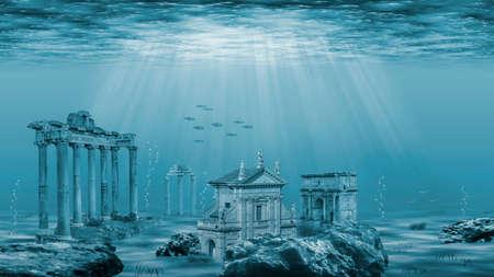 Illustration - Ruins of the Atlantis civilization. Underwater ruins