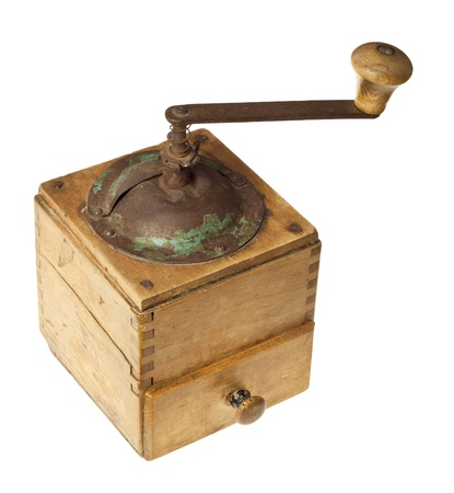 isolate old coffee grinder on a white background  Stock Photo