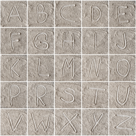 c r t: handwritten alphabet letters on flour, grain, dust mixture, on the ground at the mill warehouse Stock Photo