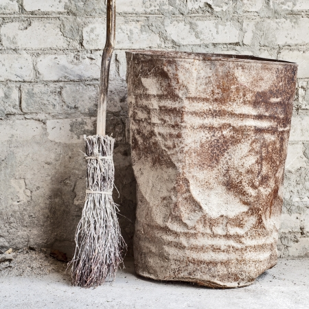 grunge wall, ladder and old barrel background  Stock Photo - 16719620