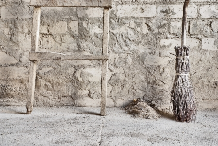 grunge wall, ladder and wooden broom background Stock Photo - 16719861
