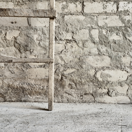 grunge wall, wooden ladder background at the mill warehouse Stock Photo - 16719623