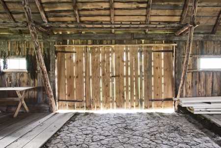 wooden beams: old barn  Stock Photo