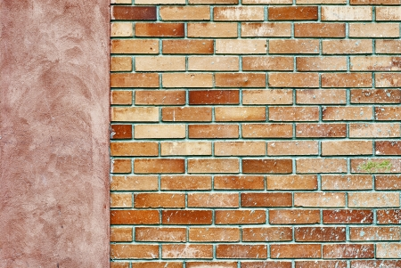 brick wall background, left side stucco frame  photo